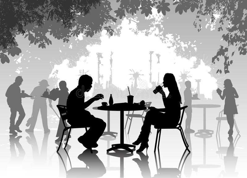 Street cafe. With eating and drinking people vector illustration
