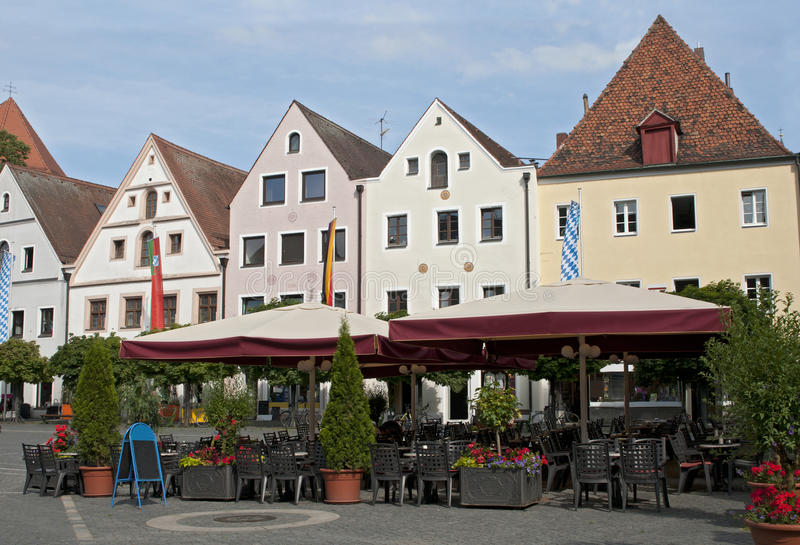 Street cafe at the central square, Weiden, Germany royalty free stock photos