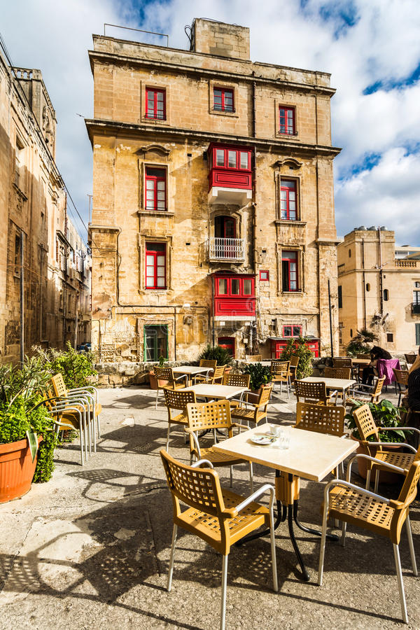 Street cafe in Malta stock image