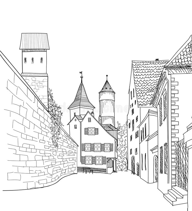 Street cafe in old city. Cityscape - houses, buildings and tower. Street in old city. Cityscape - houses, buildings and tree on alleyway. Old city view. Medieval stock illustration