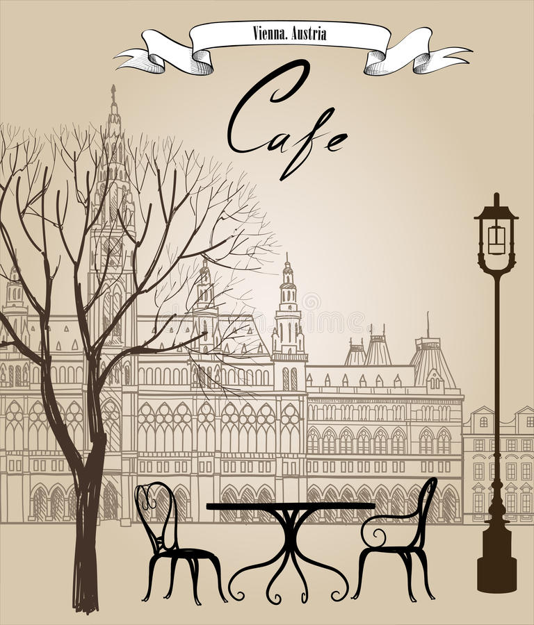 Street cafe in old city. Cityscape - houses, buildings and tree royalty free illustration