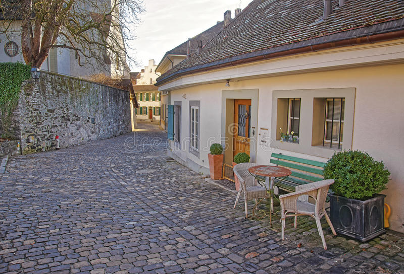 Street cafe in the Old City of Thun royalty free stock photos