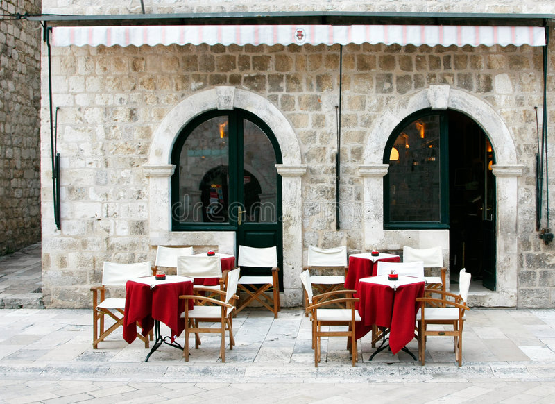Street cafe in old town stock photography