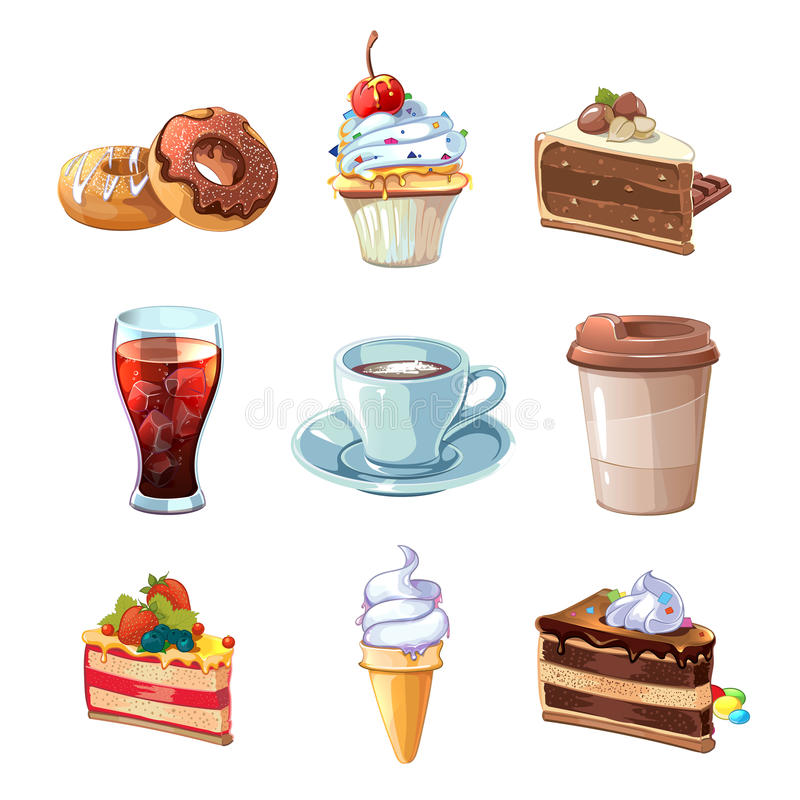 Street cafe products vector cartoon set. Chocolate, cupcake, cake, cup of coffee, donut, cola and ice cream vector illustration