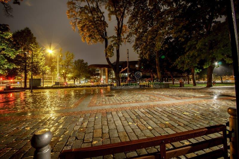Street cafe on a rainy autumn. Tampere. Finland. stock photos