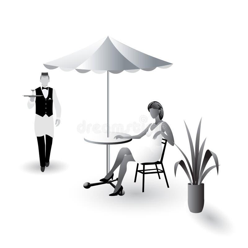 Street_cafe_scene vektor illustrationer