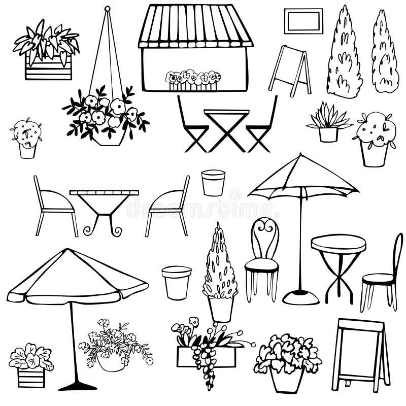 Street Cafe set. Umbrellas. Plants. Vector sketch  illustration. Street Cafe set on white background. Umbrellas. Plants. Vector sketch  illustration stock illustration
