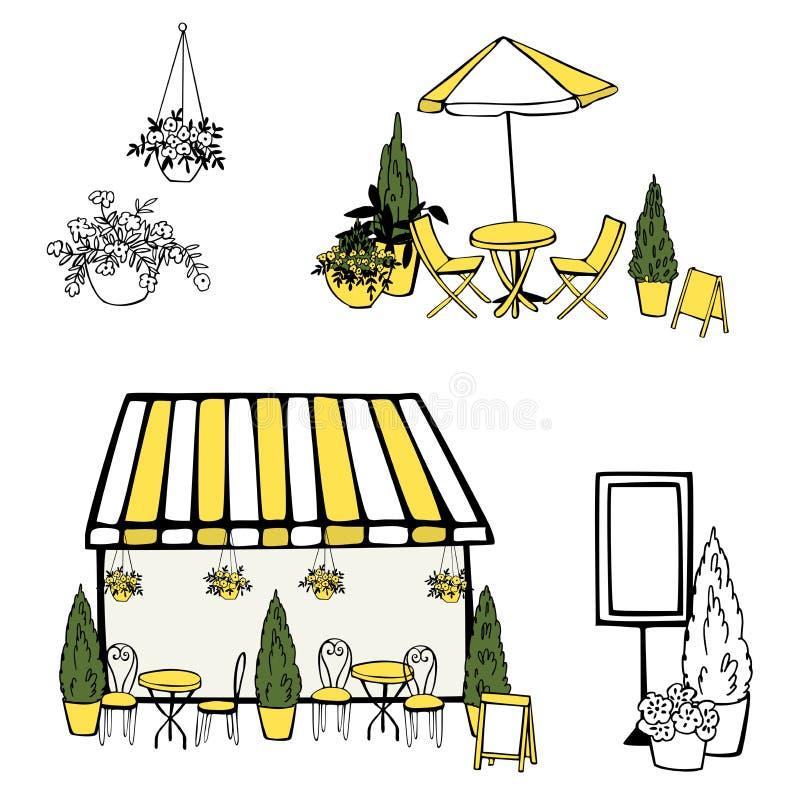 Street Cafe set. Umbrellas. Plants. Vector sketch  illustration. Street Cafe set on white background. Umbrellas.  Plants. Vector sketch  illustration royalty free illustration