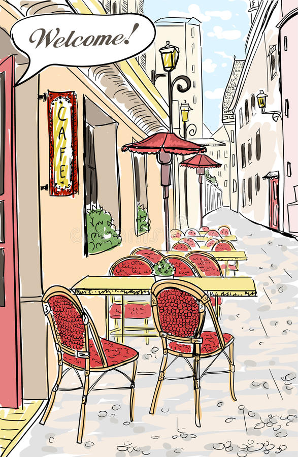 Street cafe sketch illustration. Street cafe in old town sketch illustration royalty free illustration