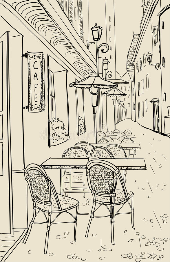 Street cafe sketch illustration. Street cafe in old town sketch illustration vector illustration