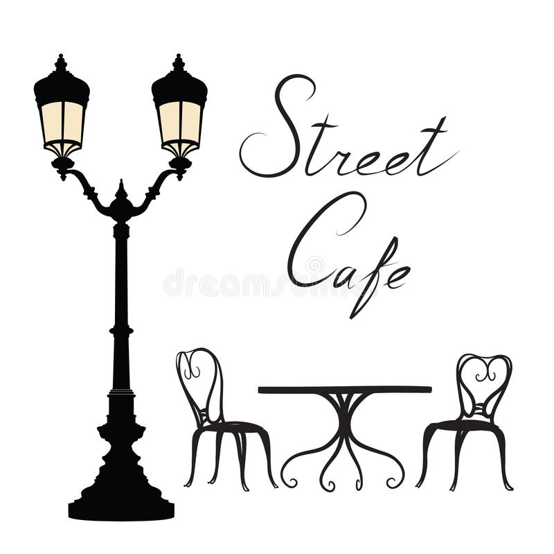 Street cafe - table, chairs, streetlight and lettering City life vector illustration