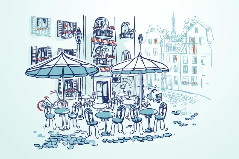 Street cafe with umbrellas in french city. Vector illustration in sketch modern style. Street cafe with umbrellas and tables in french city. Bicycle and scooter royalty free illustration