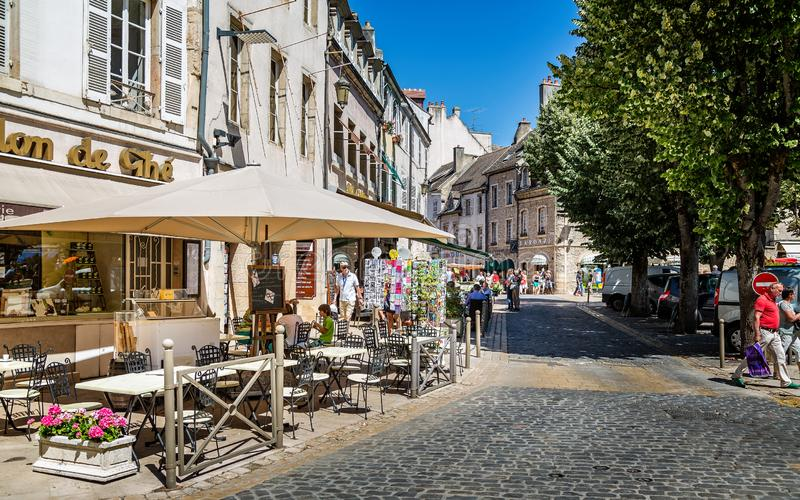 Street cafes in Beaune, Burgundy, France. On 21 June 2014 royalty free stock photos