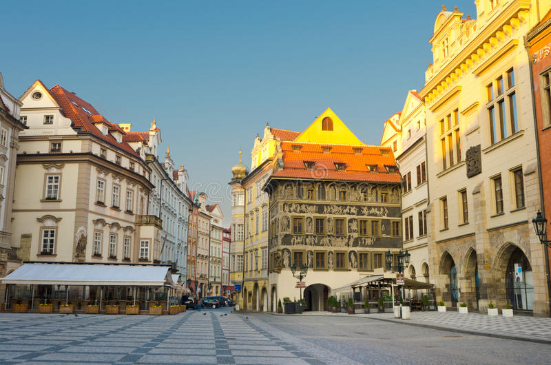 Street cafes, Old Town Square, sunrise, Prague royalty free stock photos
