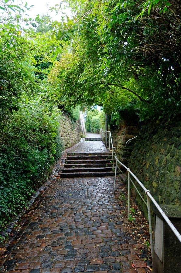 Street in so called Treppenviertel in Hamburg, germany. Stairs street in so called Treppenviertel lit. stairs quarter in Hamburg Blankenese, Germany stock photo