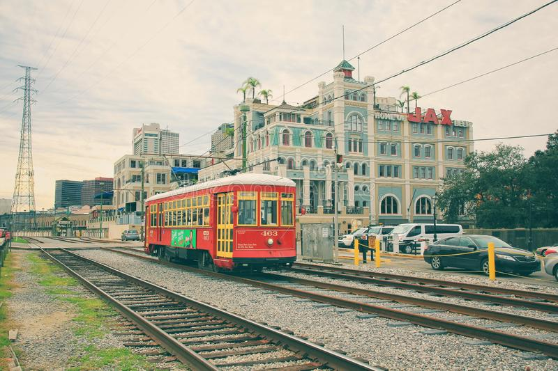 A street car in downtown New Orleans royalty free stock photo