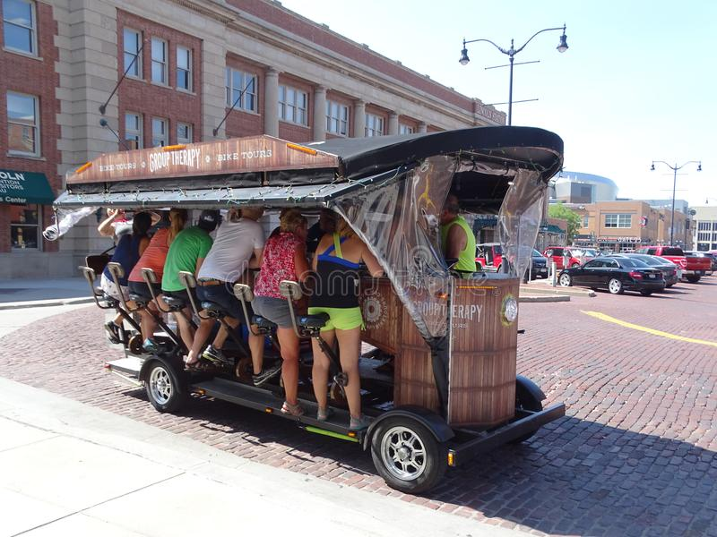 """A street car entitled """"Group Therapy"""" with seating for 12 people designed to be pe. Lincoln, Nebraska/United States-June 29, 2018: A street car stock photos"""