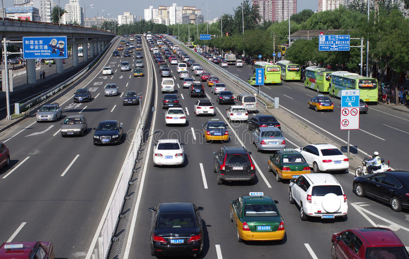 Street With Cars In Beijing Editorial Stock Photo