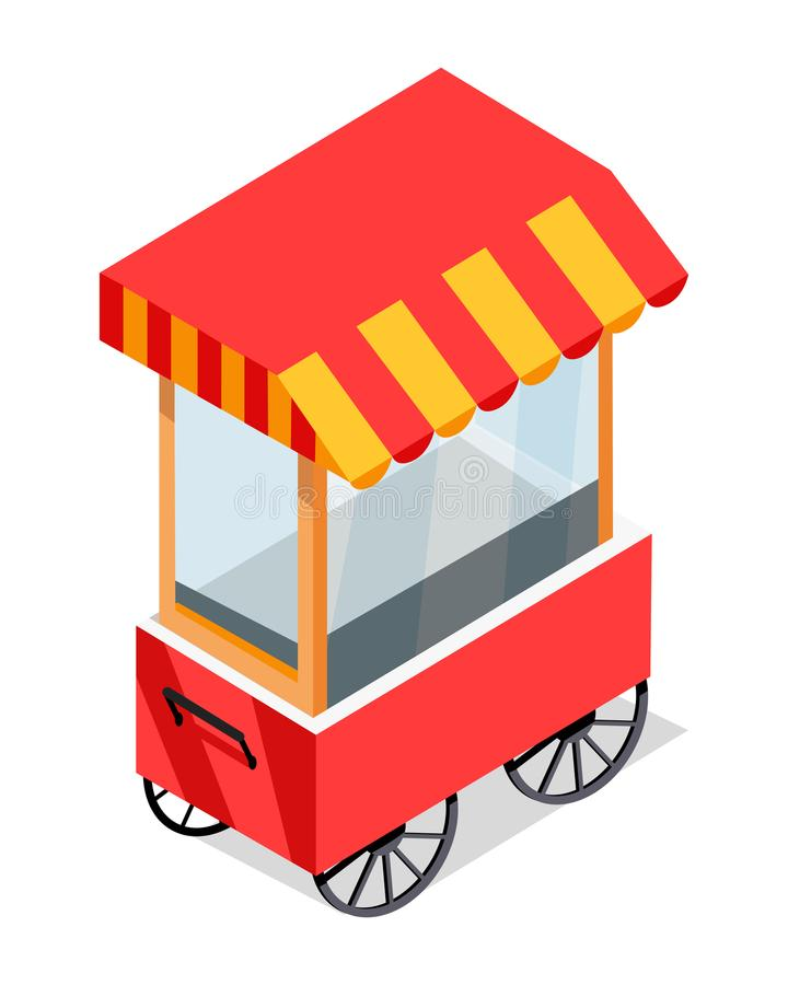 Street Cart Store on Wheels Isometric Vector Icon. Street cart store isometric icon. Trolley with stall under colorful tent vector isolated on white background vector illustration