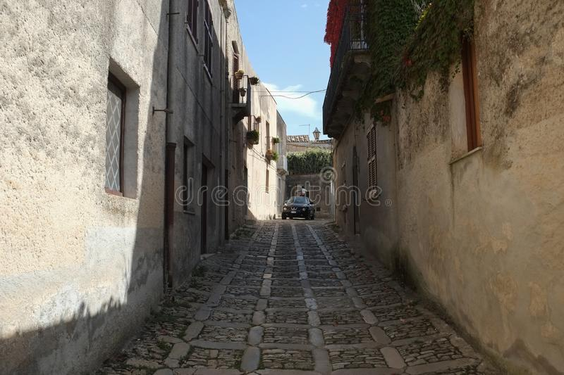 A street in the center of Erice, Italy. Asmall  street in the center of Erice, Italy royalty free stock image