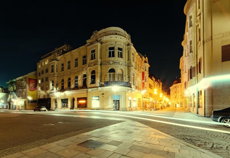 The street in the center of Ostrava, Czech republic. Night foto royalty free stock photos