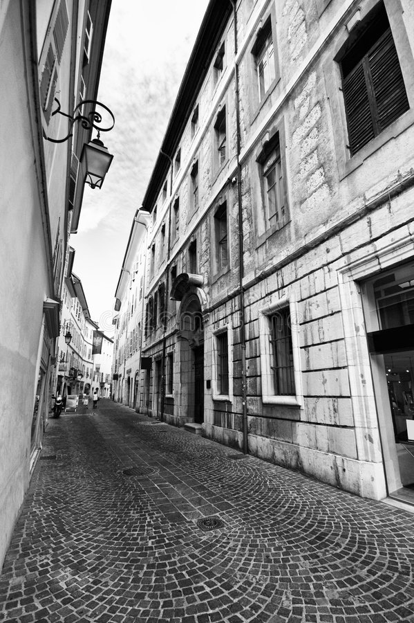 Street of Chambery, France. Black and white image of a narrow street of the old town in Chambery, France stock photos