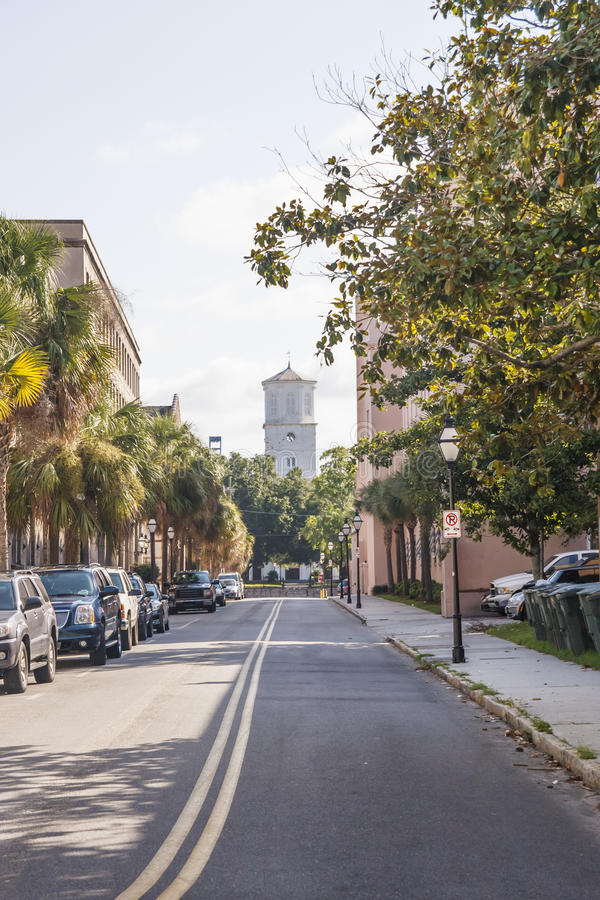 Street of Charleston Toward Old Church royalty free stock images