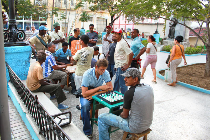 Street chess on central square royalty free stock photography