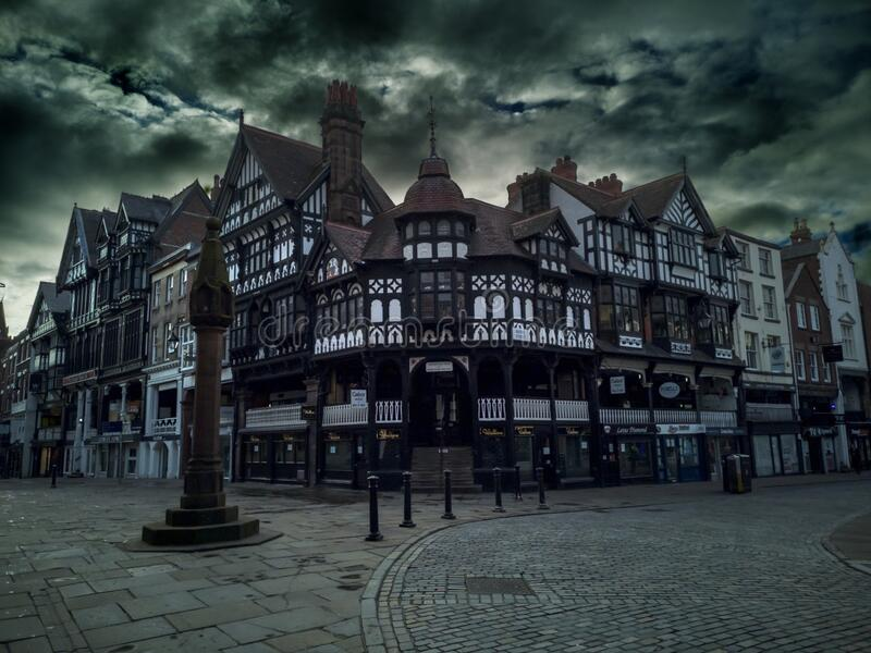 Street of Chester in the morning, Chester, United Kingdom royalty free stock images