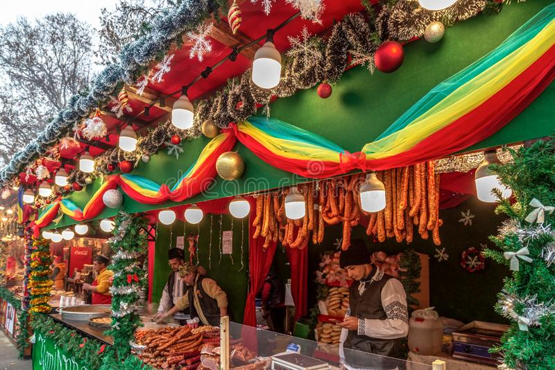 Street Christmas fair, Timisoara, Romania. TIMISOARA, ROMANIA - DECEMBER 7, 2018: Aspects from the street Christmas fair with traditional products from Maramures royalty free stock images
