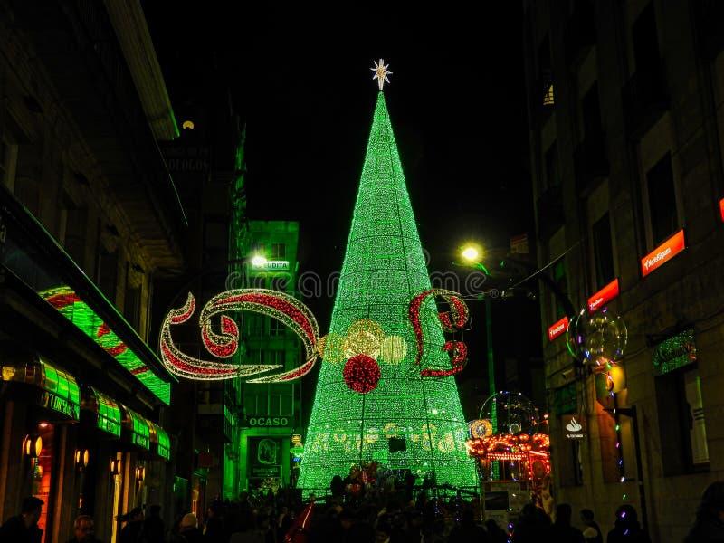 Street Christmas Lights in Vigo, Spain. A close-up view of the Christmas lights in Vigo, Spain. Merry Christmas, Happy New Year stock photo