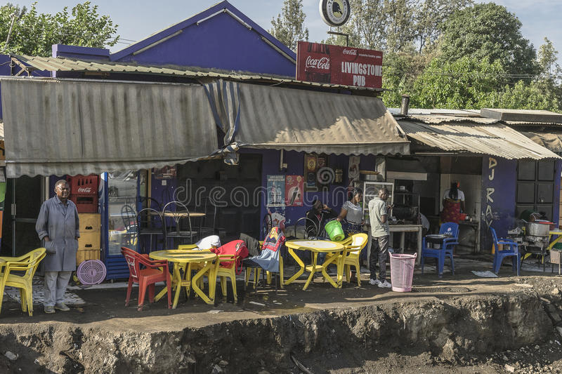 Street in city in Africa. A street in The Arusha city in Africa , Tanzania stock photos