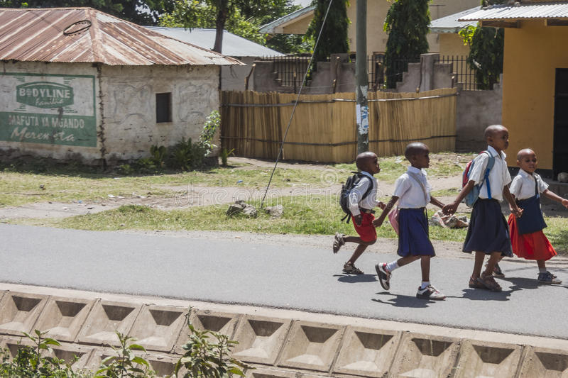 Street in city in Africa. Kids on the street in The Arusha city in Africa , Tanzania stock photos