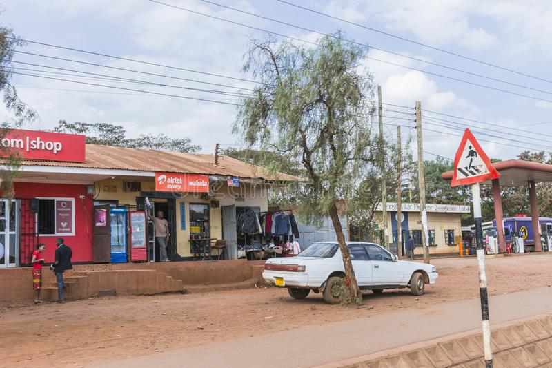 Street in city in Africa. A street with scops and people in The Arusha city in Africa , Tanzania royalty free stock images