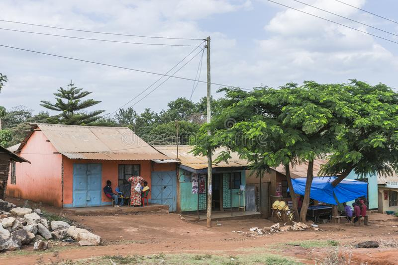 Street in city in Africa. A street with scops and people in The Arusha city in Africa , Tanzania stock images