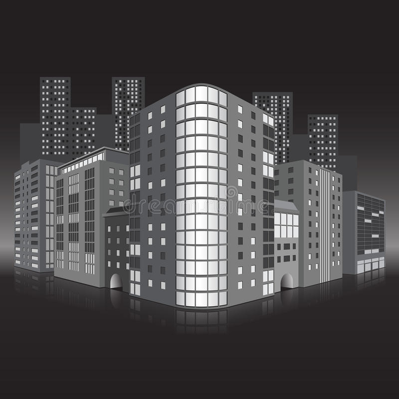 Download Street Of The City With Office Buildings And Refle Stock Vector - Image: 38404735