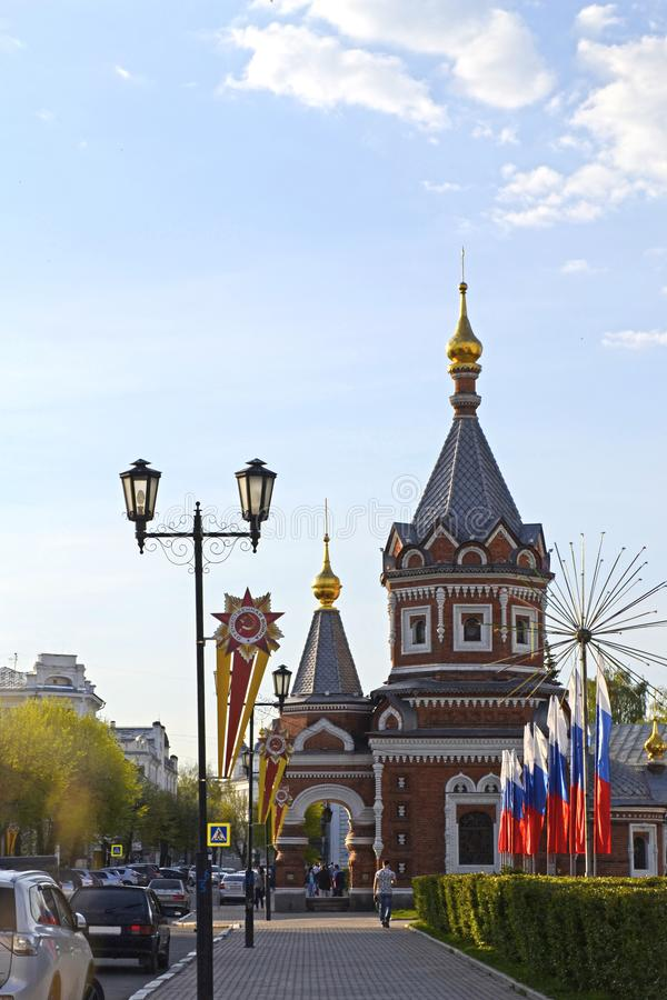 The street of the city of Yaroslavl is decorated for the celebration of Victory Day on May 9 royalty free stock photo