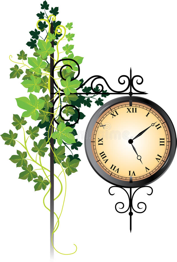 Free Street Clock Braided With Ivy Royalty Free Stock Photography - 22065187