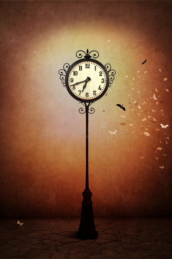 Street clock. Fantasy illustration or poster, or background for card with street clock. Computer graphics stock illustration