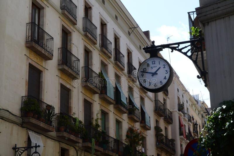 Street Clock in Old Town Barcelona, Spain stock photo