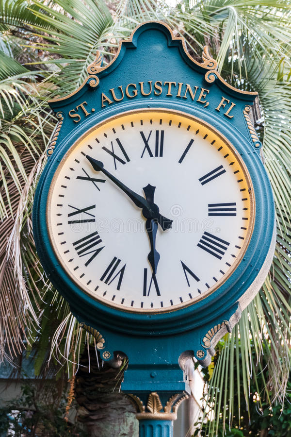 Street clock in St. Augustine Florida royalty free stock image