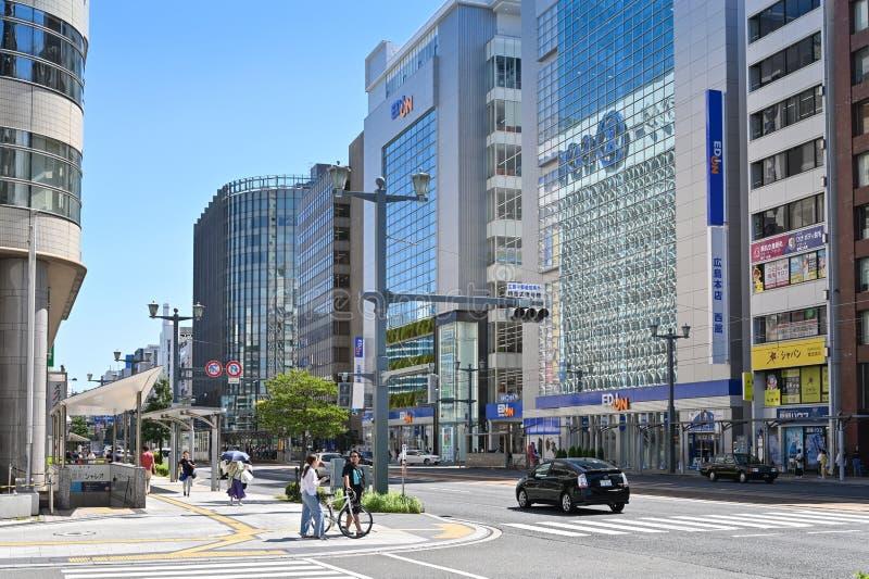 Street close to Peace Memorial Park, Hiroshima, Japan stock photos
