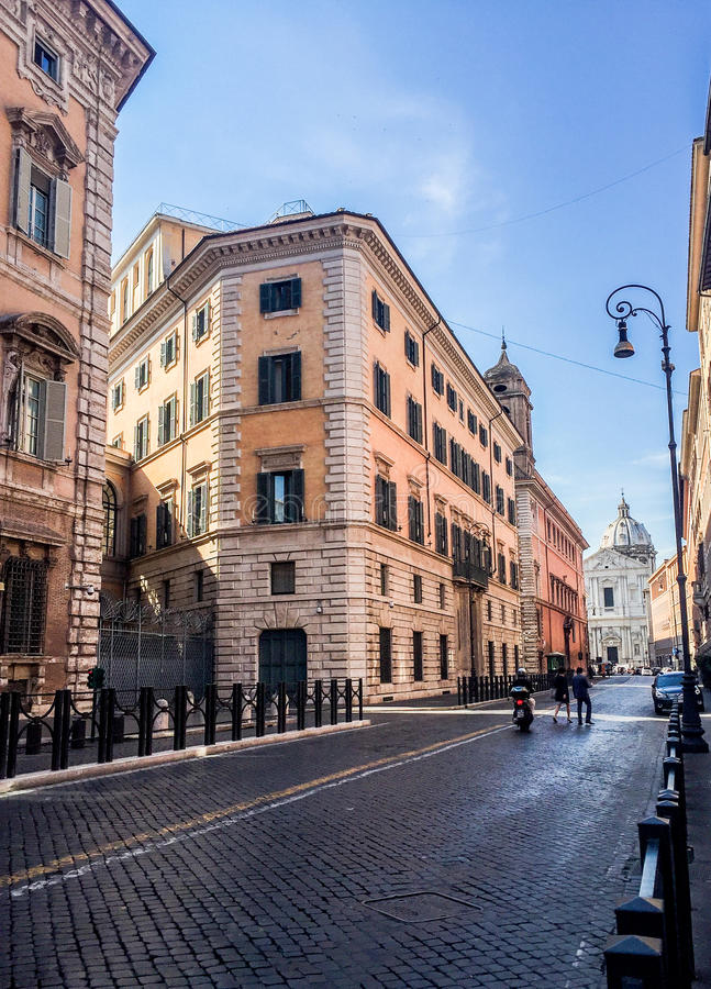 Street close to Piazza Navona. Roma, Italy stock photo