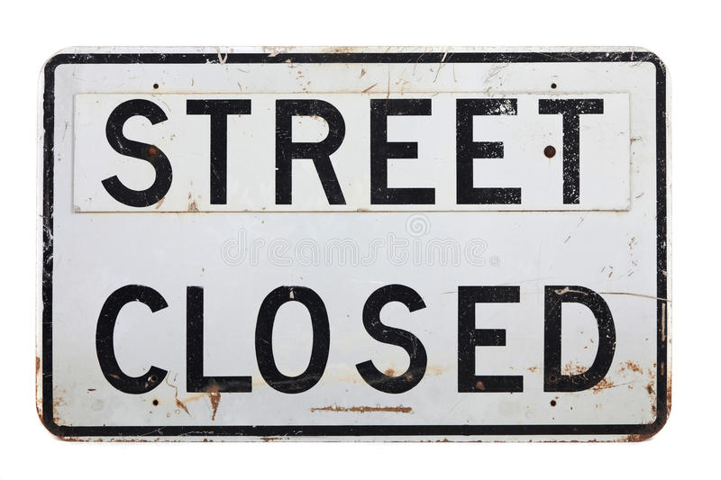 Download A Street Closed Sign On A White Background Stock Photo - Image: 28579166