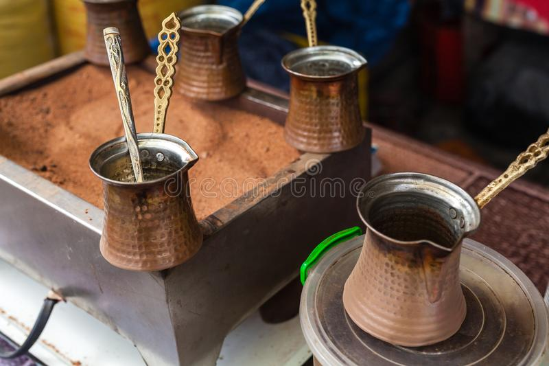 Street coffee on sand, close up view royalty free stock photos