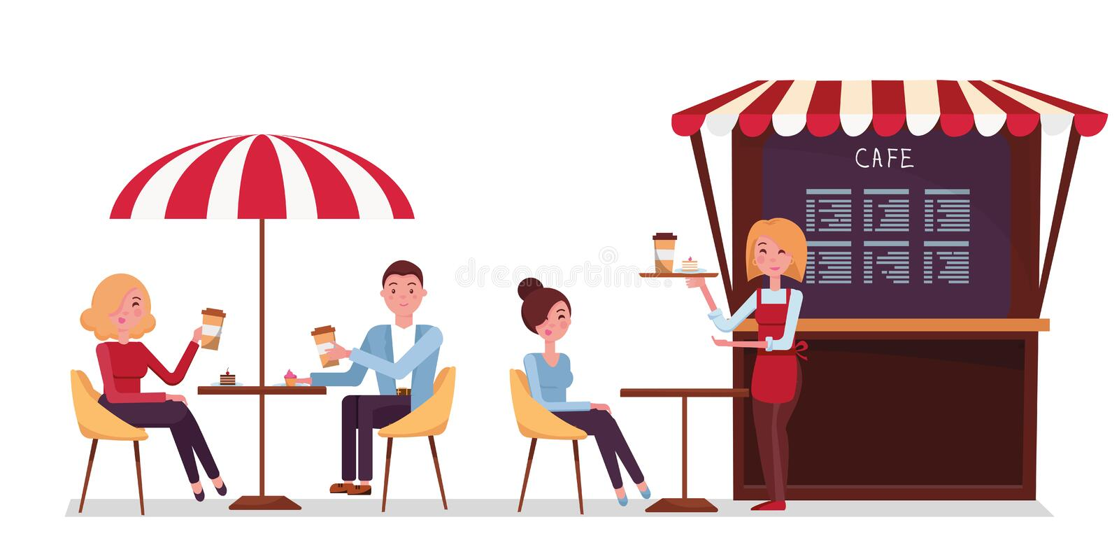 Street coffee shop concept vector banner. Takeaway kiosk in flat style. Friends are sitting at a table in a summer cafe. Cafe stock illustration