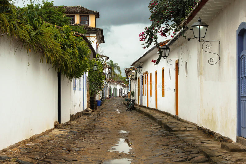 Street of the colonial city of Parati Rio de Janeiro - Brazil royalty free stock image
