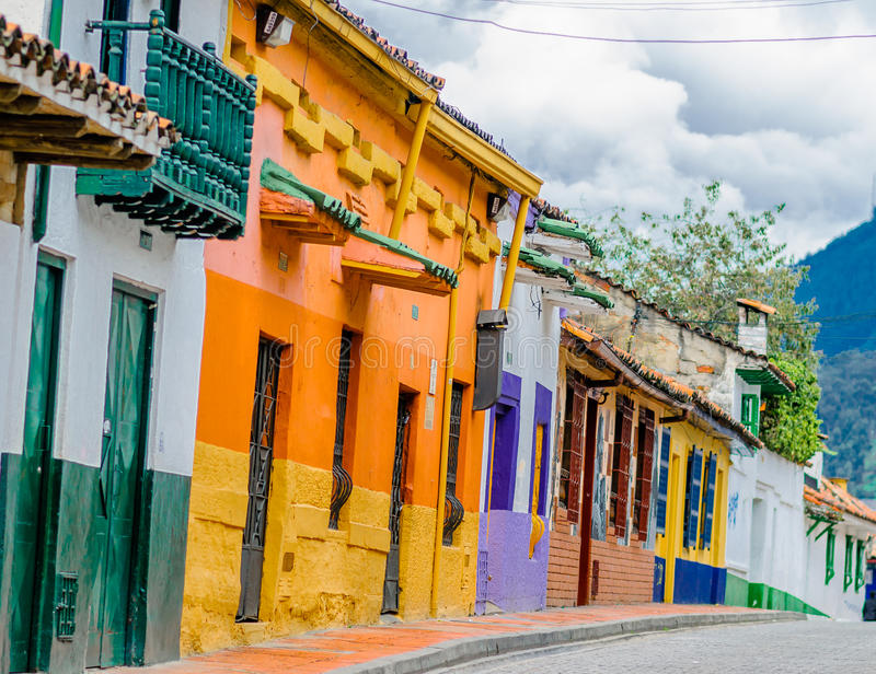 Street of colorfoul buildings in colonial old town la candelaria in Bogota royalty free stock photo