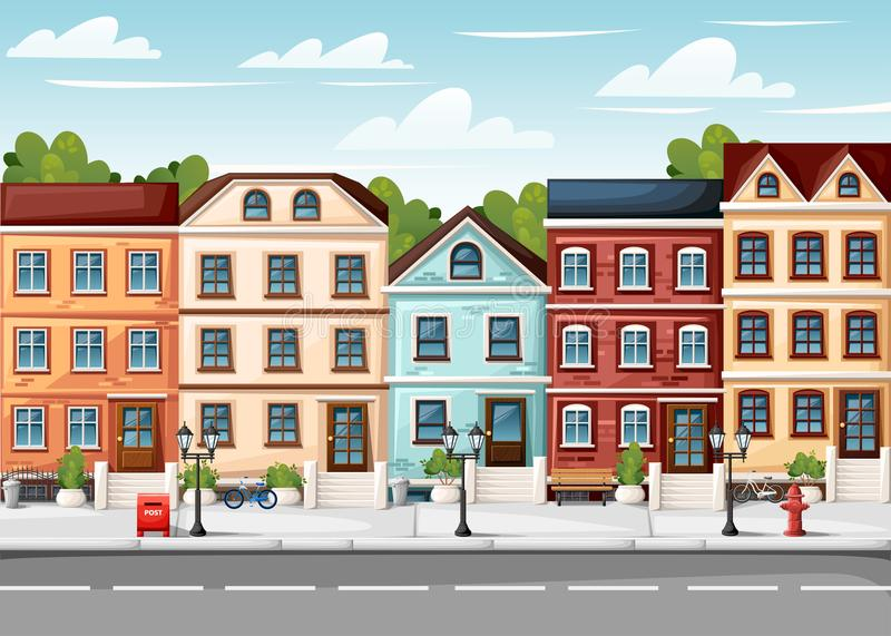 Street with colorful houses fire hydrant lights bench red mailbox and bushes in vases cartoon style vector illustration website pa royalty free stock images