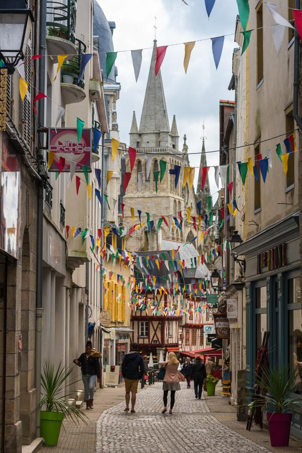 Street with colorful houses in a medieval city of Vannes, France royalty free stock photography